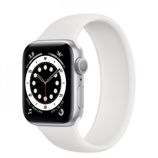 Reloj Apple Watch Serie 6 GPS + Cellular Caja 40mm Aluminio Plata y correa deportiva blanca