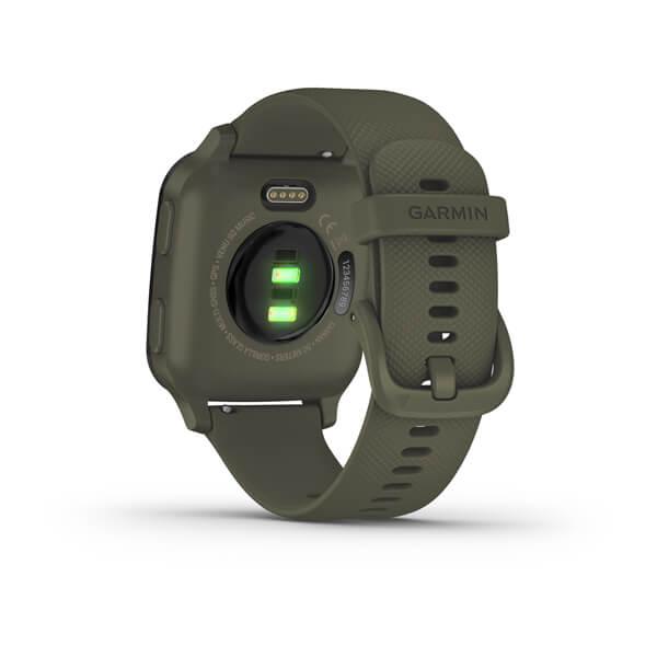 GARMIN Venu Sq - Music Edition - Bisel de aluminio negro con caja y correa de silicona en color verde Ref: 010-02426-13