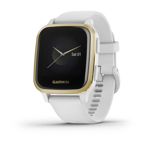 GARMIN Venu Sq - Bisel de aluminio light gold con caja y correa de silicona en blanco Ref: 010-02427-11
