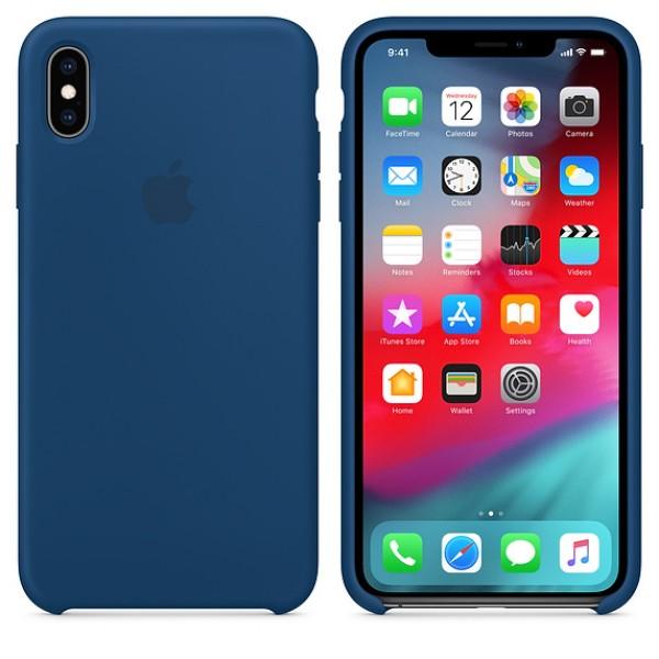 Apple Funda Iphone XS Max Silicone Case Azul Horiz...