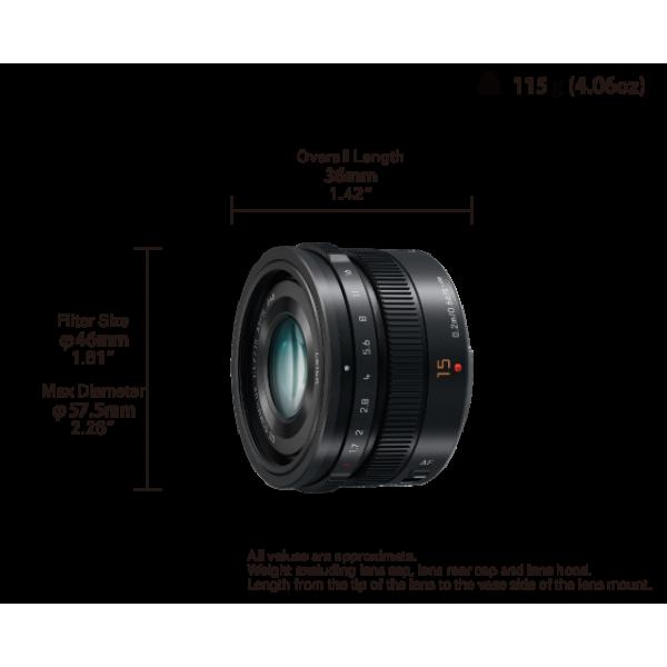 Objetivo Panasonic 15mm f/1.7 (H-X015) LEICA DG SU...