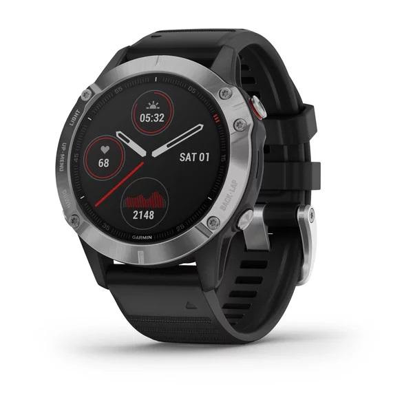 Reloj Garmin fenix 6 plata, negro con correa negra...
