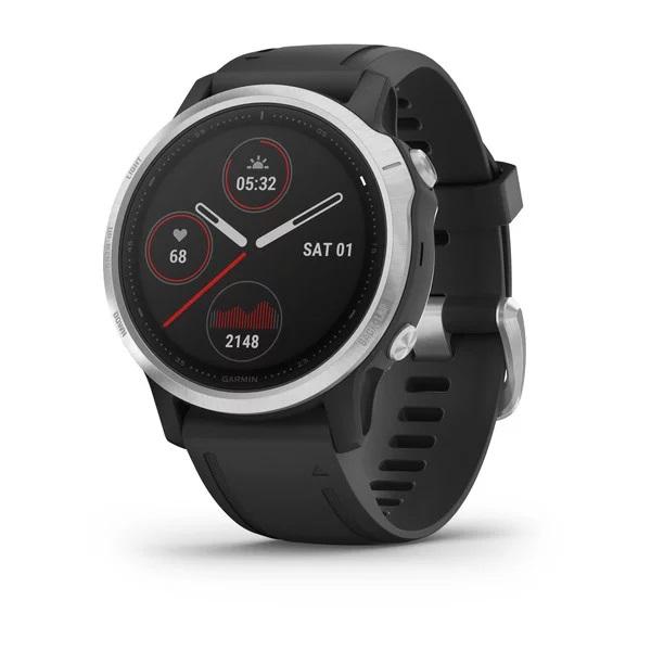 Reloj Garmin fenix 6S plata, negro con correa negr...